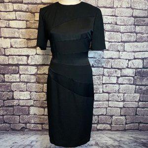 Leslie Fay Vintage S-Sleeve Black Dress Size 8